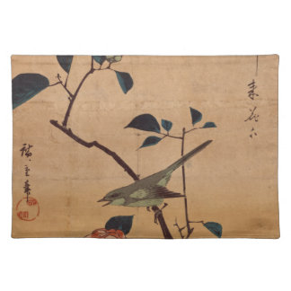 Camellia and Bush Warbler by Hiroshige Placemat