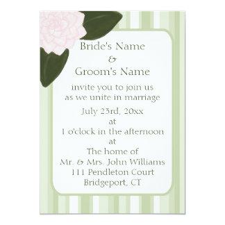 Camellia and Stripes Wedding Invitation