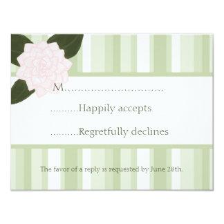 Camellia and Stripes Wedding RSVP Card
