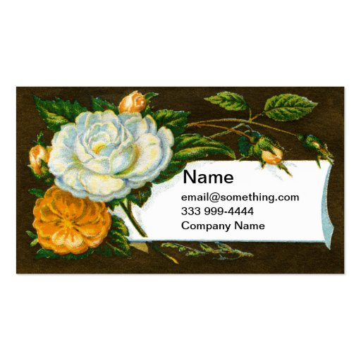 Camellia and Yellow Roses Victorian Double-Sided Standard Business Cards (Pack Of 100)