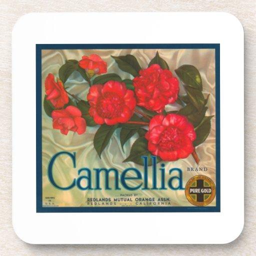 Camellia Band Vintage Fruit Crate Label Coasters