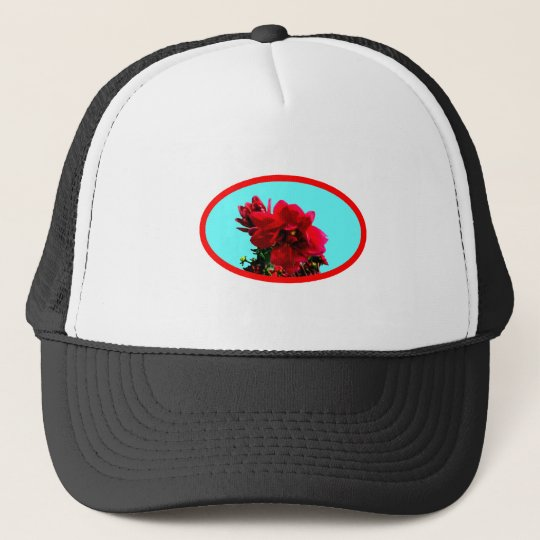 Camellia bg Cyan The MUSEUM Zazzle Gifts Trucker Hat