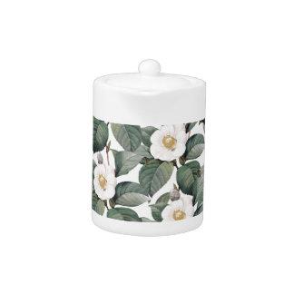 Camellia Florals On White Teapot