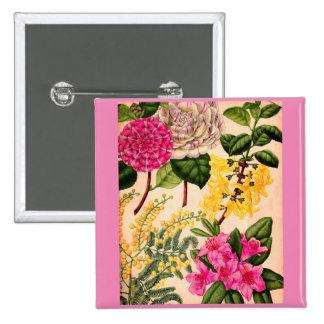 camellia, forsythia, rhododendron and acacia pinback button