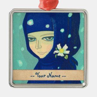 Camellia Ikeda Shuzo oriental lady girl painting Metal Ornament