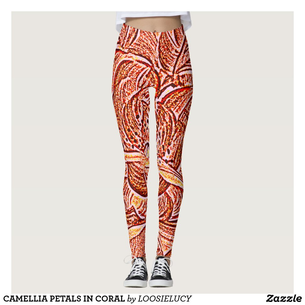 6d5e110b7f5759 CAMELLIA PETALS IN CORAL LEGGINGS - Yoga Leggings And Exercise Tights With Beautiful  Graphic Designs For