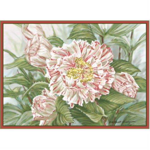 Camellia Striped Garden Flowers Painting Statuette
