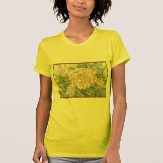 Camellia Striped Garden Flowers Painting T-shirt