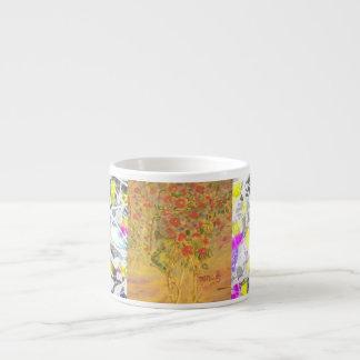 camellias drip painting espresso cup