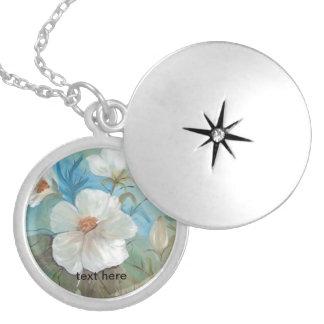 Camellias Round Locket Necklace