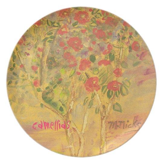 camellias sketch melamine plate
