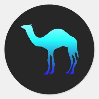 Camello azul etiquetas redondas