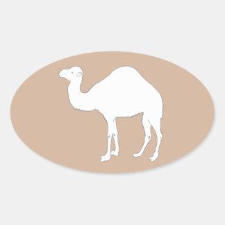 Camello blanco pegatina ovalada