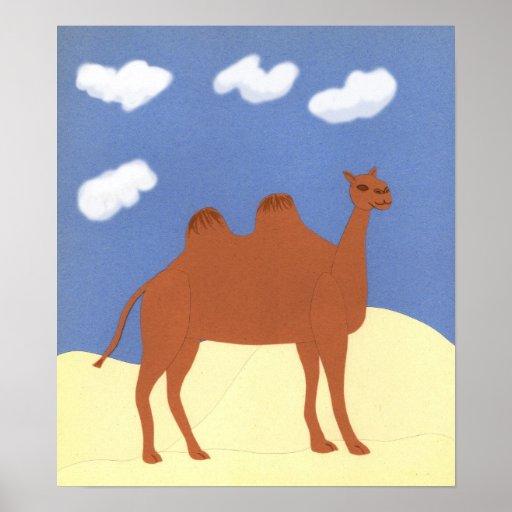 Camello caprichoso en las dunas del desierto póster