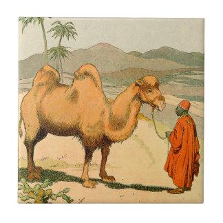 Camello de la Doble-Chepa en el desierto mongol Azulejo Cuadrado Pequeño
