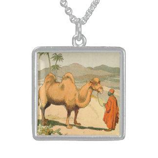 Camello de la Doble-Chepa en el desierto mongol Collar De Plata De Ley