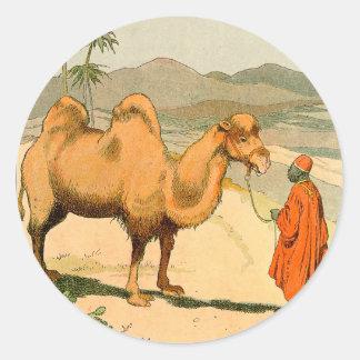 Camello de la Doble-Chepa en el desierto mongol Pegatina Redonda