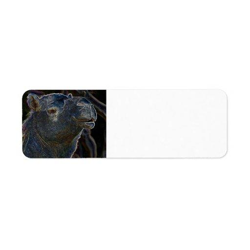 Camello de neón etiquetas de remite