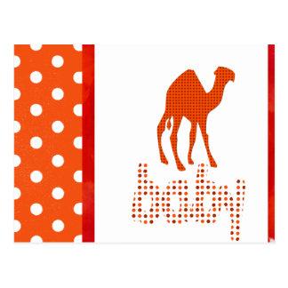 Camello del rojo de la fiesta de bienvenida al beb tarjeta postal