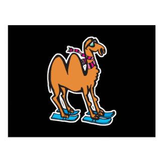 camello divertido en los esquís tarjeta postal