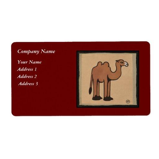 Camello - ejemplo de libro anticuario colorido etiquetas de envío