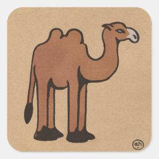Camello - ejemplo de libro anticuario colorido pegatina cuadrada