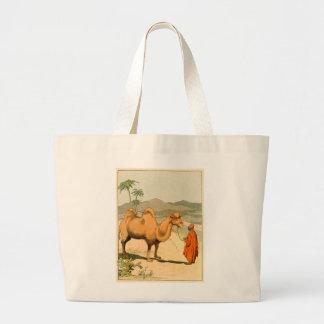 Camello en el desierto mongol bolsa de tela grande