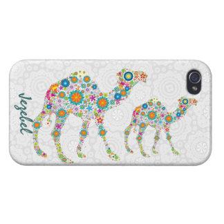 Camello floral retro colorido y damascos blancos iPhone 4/4S carcasa