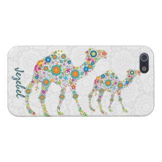 Camello floral retro colorido y damascos blancos iPhone 5 carcasas