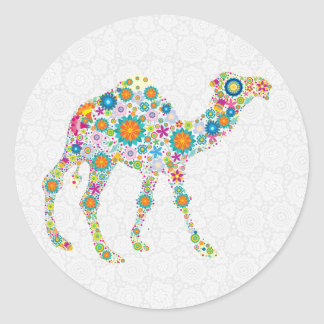 Camello floral retro colorido y damascos blancos pegatina redonda