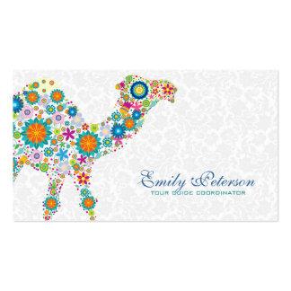 Camello floral retro colorido y damascos blancos tarjetas de visita