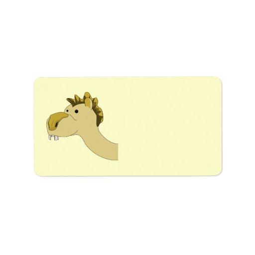 Camello lindo del dibujo animado etiqueta de dirección