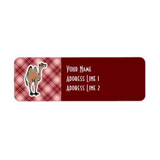 Camello lindo; Tela escocesa roja Etiquetas De Remite