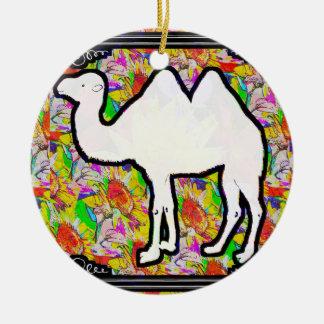 Camello y flores adorno navideño redondo de cerámica