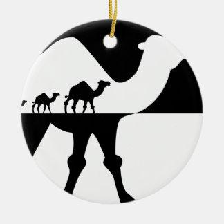 Camellos Adorno Navideño Redondo De Cerámica