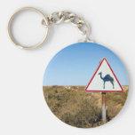 Camellos amonestadores a continuación llavero