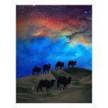 Camellos de la caravana del desierto membrete