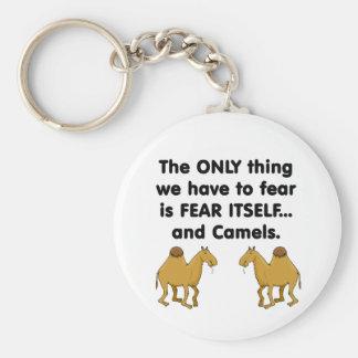 Camellos del miedo sí mismo llavero redondo tipo pin