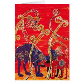Camellos rojos y azules tarjeta de felicitación