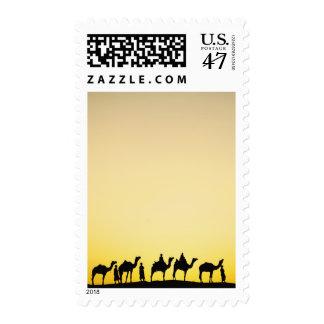 Camellos y conductor del camello silueteado en la timbres postales