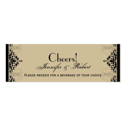 Camelot Gold Black Scrolls Wedding Drink Ticket Business Card Template