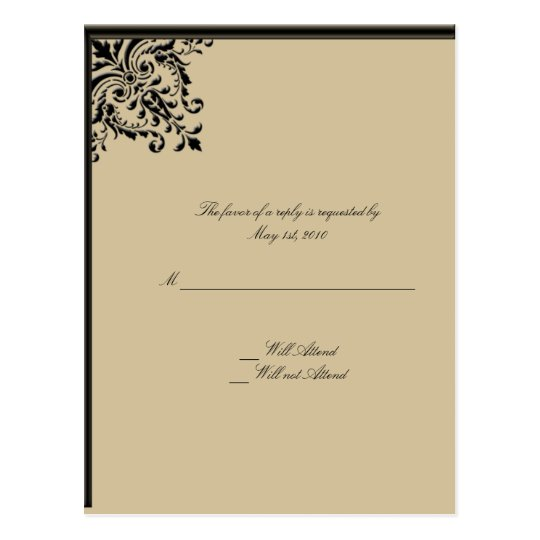 Camelot Gold with Black Scrolls Floral Medallions Postcard