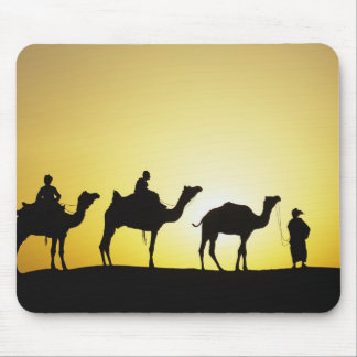 Camels and camel driver silhouetted at sunset, 2 mouse pad