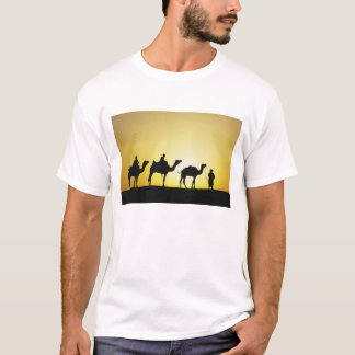 Camels and camel driver silhouetted at sunset, 2 T-Shirt