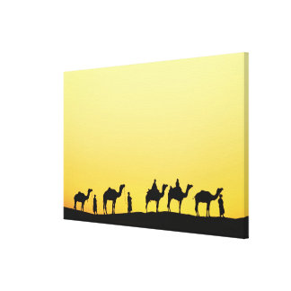 Camels and camel driver silhouetted at sunset, 3 canvas print
