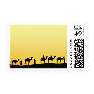 Camels and camel driver silhouetted at sunset, 3 postage