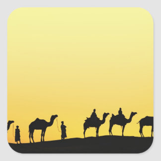Camels and camel driver silhouetted at sunset, 3 square stickers
