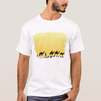 Camels and camel driver silhouetted at sunset, 3 T-Shirt