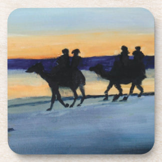 Camels at sunset beverage coaster
