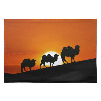 Camels at sunset placemats